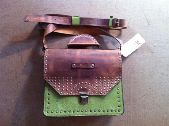 Olive Full Grain Leather Briefcase, Olive Leather Bag, Leather Bag, Leather Messenger Bag, Top Handle briefcase,