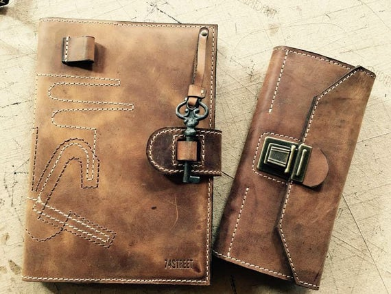 Agenda Leather Case, Handmade Genuine Leather Agenda Case, Made to order Agenda Case, Leather Diary,