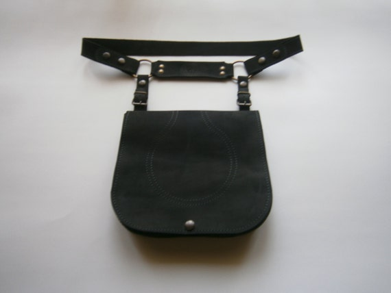 NYC Hip Bag, Handmade Genuine Leather Hip Bag, Black Hip Bag, Belt Bag, Belt&Bag, Made to order