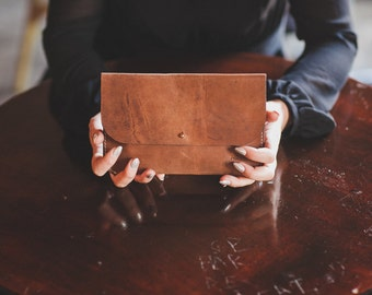 Oil Tanned Brown leather Clutch, Leather Clutch, Evening Clutch, Evening Leather Clutch, Day Clutch,