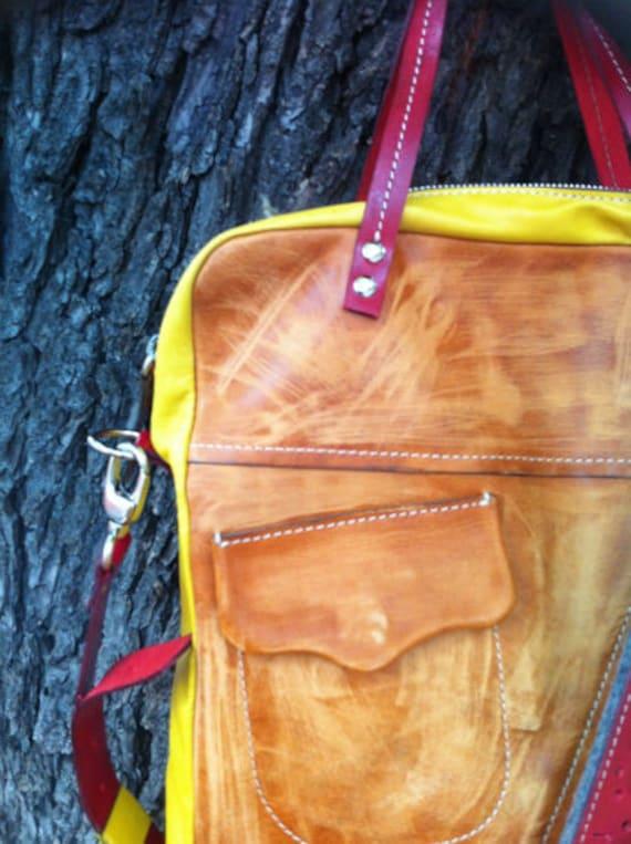 Red-Yellow-Camel Galileo City Bag, Brushed Full Grain Leather Bag, Genuine Leather Handmade Bag, Laptop bag,Custom Bag