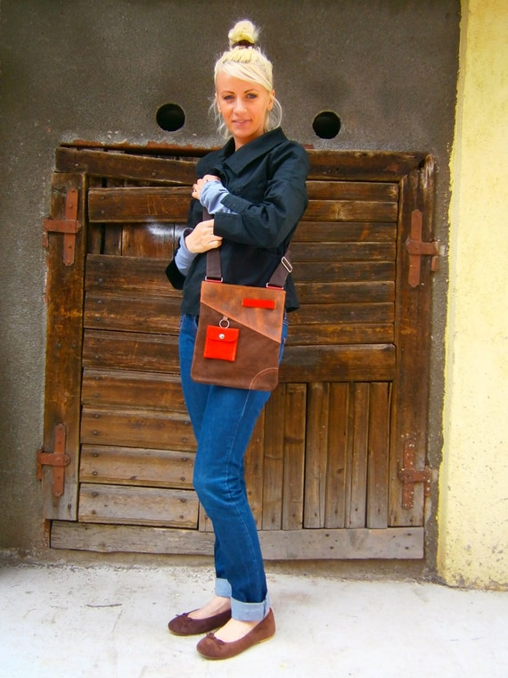 Leather Crossbody Bag, Genuine Leather Crossbody Bag, Brown leather crossbody Bag, Handmade Bag, Red and Brown crossbody bag,