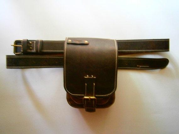 Belt bag, Full grain leather belt bag, unisex bag and belt, Hip Bag, Man Pouch, Tote bag, Walking Bag
