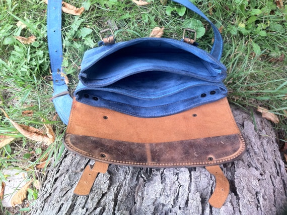 Blue Summer IPad Briefcase, 13' laptop bag, School Bag, Full grain Leather Briefcase, IPad Bag, IPad sleeve, Tablet Bag,
