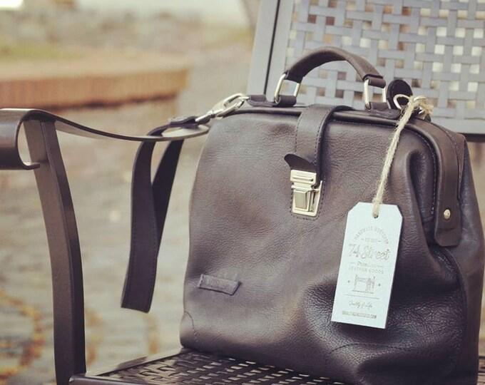 Especially for TJ Unisex Black Leather Doctor bag, Top Handle Bag, Metal Frame Bag, Doctor Bag, Leather Bag, Mary Poppins Bag, LIFETIME BAG