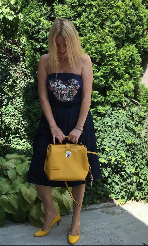 Leather doctor bag, Metal framed doctor bag, Yellow Bag, Yellow Leather Bag, Yellow doctor bag, Mary Poppins Bag