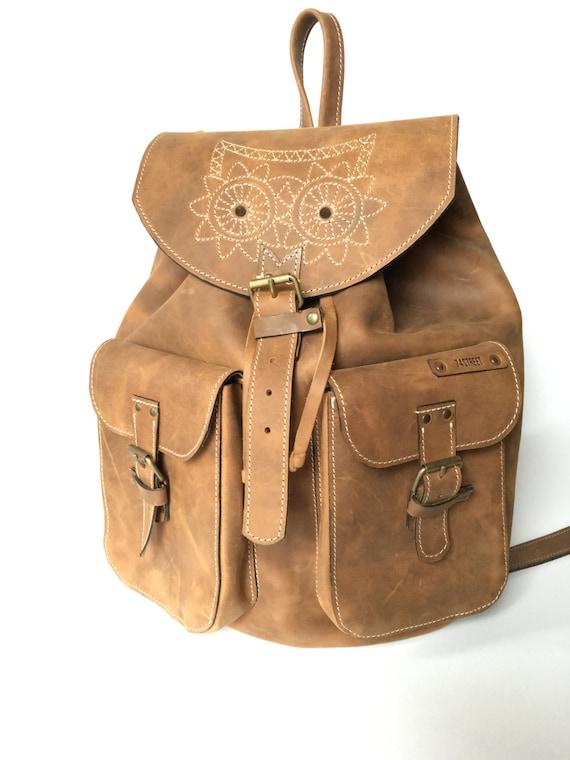 Leather Backpack,Full Grain leather Back Pack,Owl Eboidred Leather Backpack,Travel Bag, Overnight Bag, School Bag, Rucksac