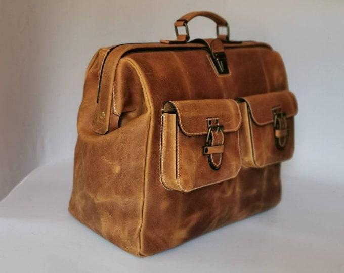 Gladstone Bag, Leather Doctor bag, Metal framed Doctor Bag, Office Bag, Travel Bag, Weekender Bag, overnight Bag, Man Bag, FREE SHIPPING