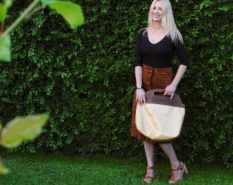Crocodile leather Bag, Yellow Crocodile Bag, Leather Bag, Doctor Bag, Luxury lacquer Leather Bag, Handbag, Top Handle Bag,