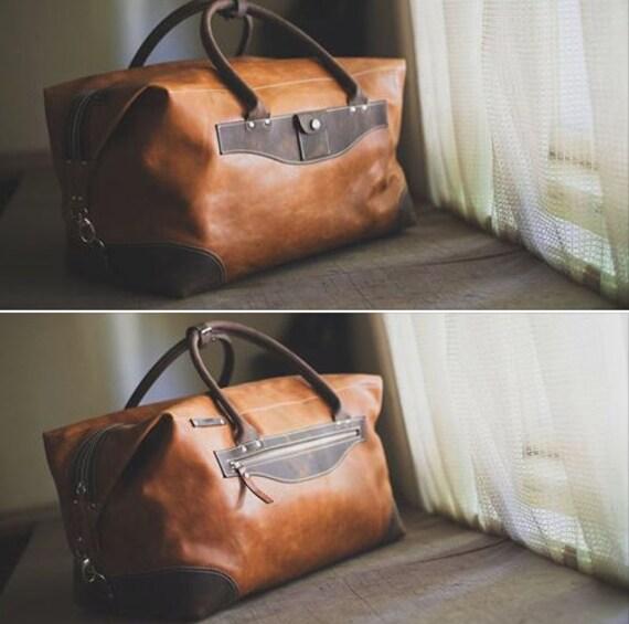 74street Camel Travel Bag,Handmade Travel Bag,Business travel Bag,Par avion leather bag, Full Grain Leather