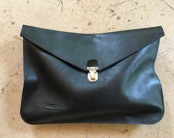 Oversized Leather Clutch, Black Leather Clutch, Leather Clutch, Safety closure clutch, Everyday cutch, Oversized clutch,