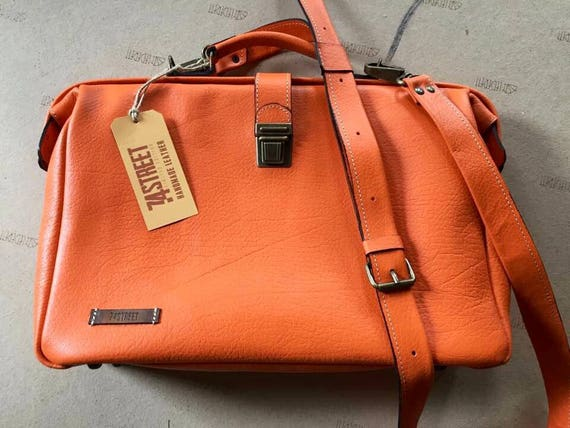 Woman Leather Briefcase, Woman Handbag, Woman Leather Bag, Orange Leather Bag, Handmade Leather briefcase, Leather Messenger