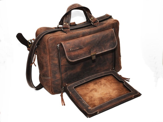 13 inches Organiser Convertible Leather Backpack, Briefcase, Backpack and Messenger Bag all in one, Laptop and iPad