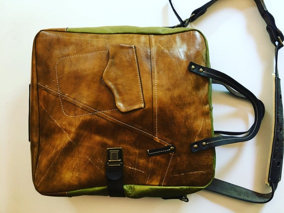 Leather Bag, Top handle tote bag, Halloween Camel Galileo Bag Green Version, 15 inch laptop bag, office bag, school bag