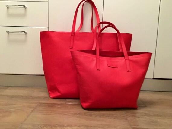 Red extra-large travel bagTote Bag, Red Leather Bag, Handmade Office Bag, Leather Shoulder Bag, xxl Bag