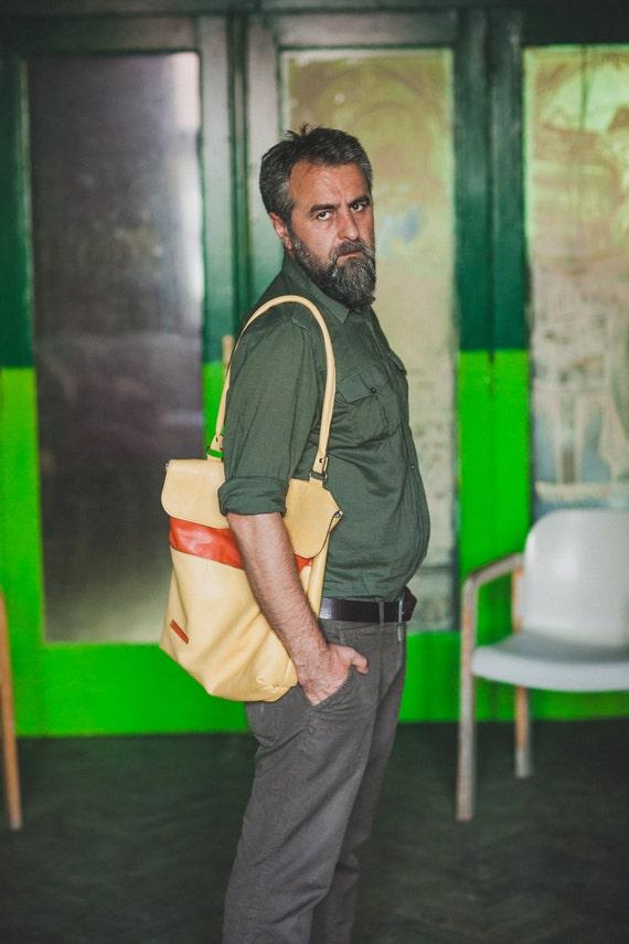 Leather Bag, Shoulder Bag, Leather Tote Bag, Yellow Full Grain Leather Bag, Safety Closure bag,