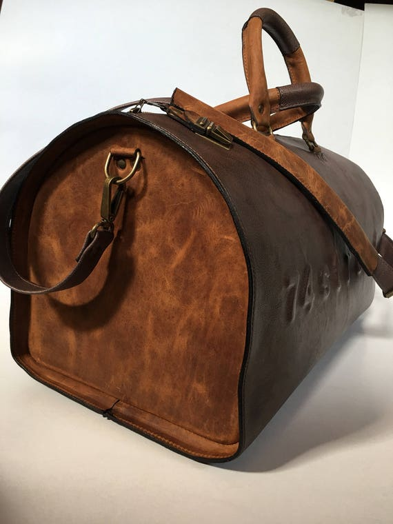 USA post box Duffel Bag, Rusty Brown Travel Bag, Sports Bag, Leather Weekender Bag, Leather Bag