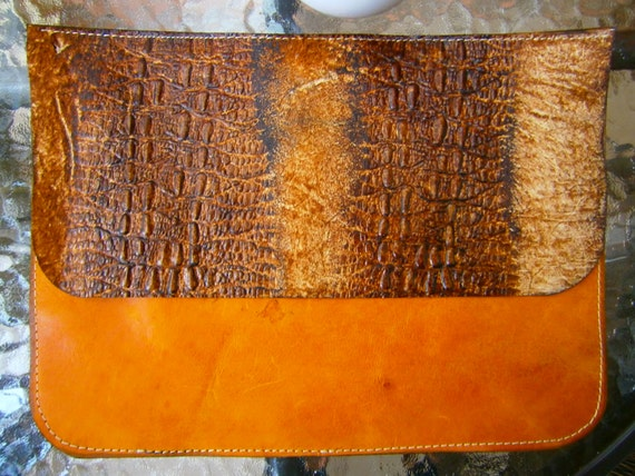 Snake Leather bag, Snake Leather Clutch, Hand bag, Ipad sleeve, Evening clutch, leather clutch, brown clutch, snake leather