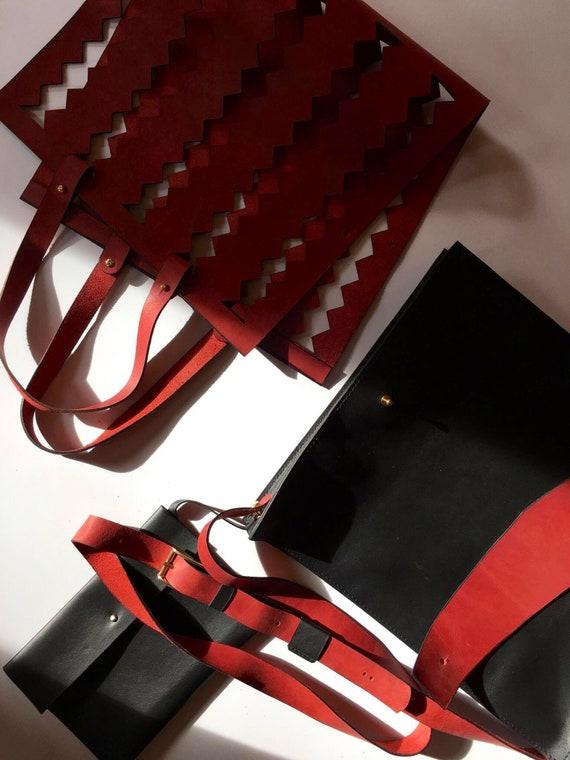 Four bags in one, Black Briefcase, Black and red clutch, Leather Bag, Transilvanian Etno Bag, Fashion Bag, Designer Bag
