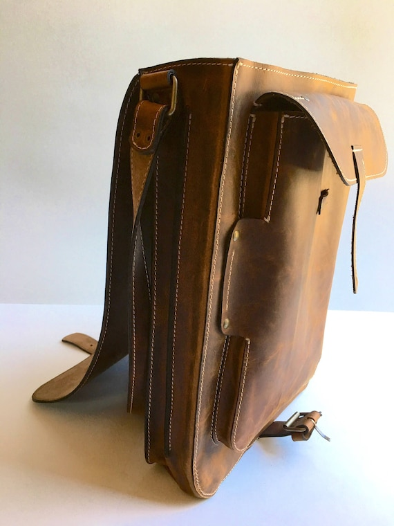 15 inch Laptop Vertical messenger bag double compartmented, Smart-casual office bag, bag for man, gift for him,  handmade bag