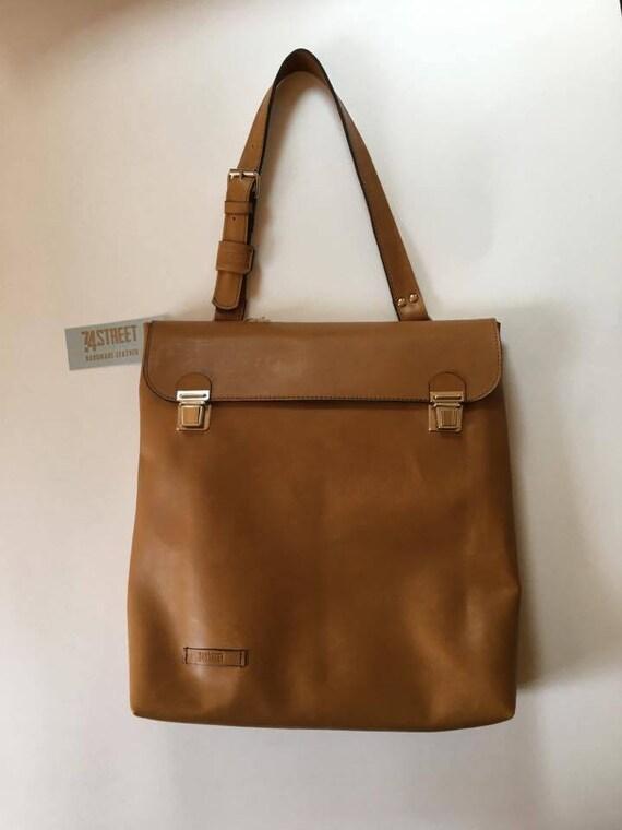 Leather Laptop Bag, Genuine Leather Tote bag, Office tote Bag, Vertical Satchel, Handmade Leather Bag,