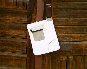 White Leather Bag, White Genuine Leather Bag, Gift for her, Handmade Bag, Cross Body Bag, Cross Over Bag, On Stock Ready to Go Bag