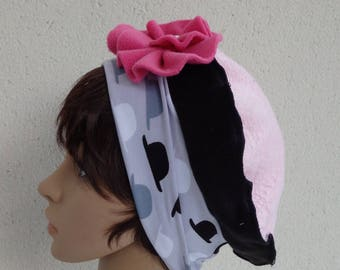 Beret headband special chemo fleece and cotton BR121