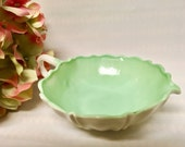Vintage Fire King Vitrock Oyster And Pearl Mint Green Candy Dish Bowl, 1940s Milkglass Shabby Chic French Farmhouse Decorative USA Made