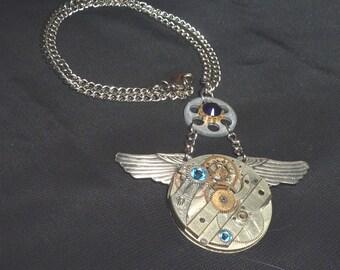 Vintage Winged Steampunk Pocket Watch Pendant