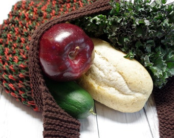 Red Brown Mesh Bag of Holding {Produce} Hand Knit Durable 100/% Cotton Cross Body Bag Green Ready to Ship Reusable Market Tote