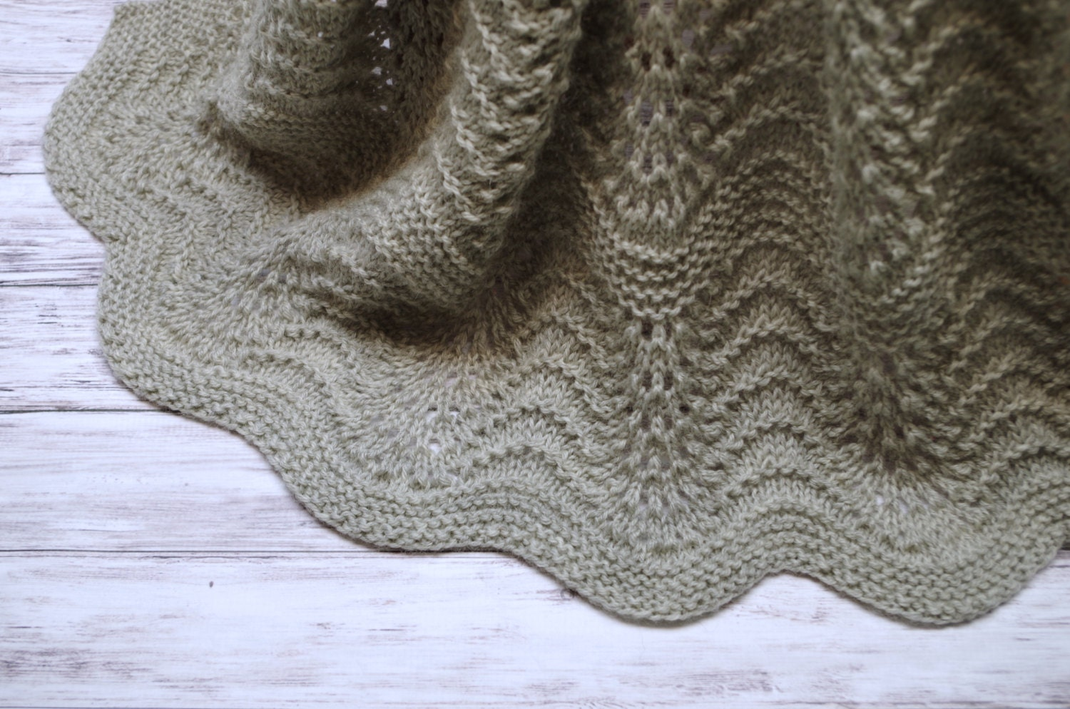 Wool Baby Blanket: Heirloom Quality Hand Knit Feather and Fan