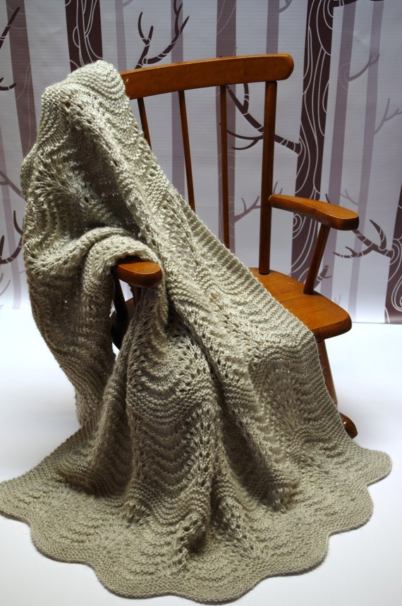 Gray Feather And Fan Lace Wool Baby Blanket Heirloom Quality Etsy