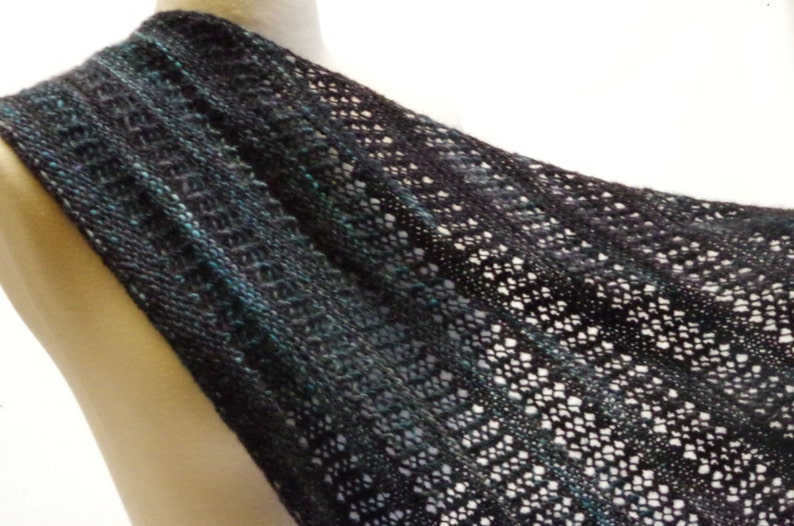 Black and Blue Lightweight Lace Triangle Scarf, Hand Knit Asymmetrical  Shawl, Drop Stitch Wrap from Hand Dyed/Hand Spun Wool, Ready to Ship
