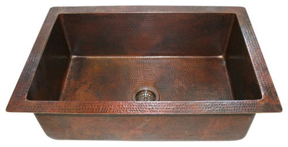 33 One Well Hand Hammered Copper Kitchen Sink Choice 9 Or 10 Depth
