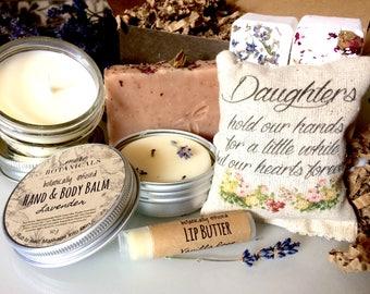 Daughter Gift Set - Botanically Infused Bath & Body Set w/ Scented Sachet - Lavender, Calendula, Rose, Eucalyptus-Mint