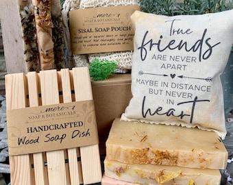 True Friends Soap Set with Scented Sachet, Soap Dish and Sisal Pouch