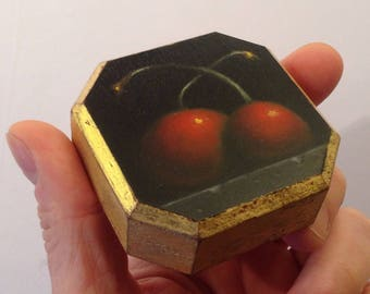 Cherry Love No. 3; a miniature oil painting with gold leaf