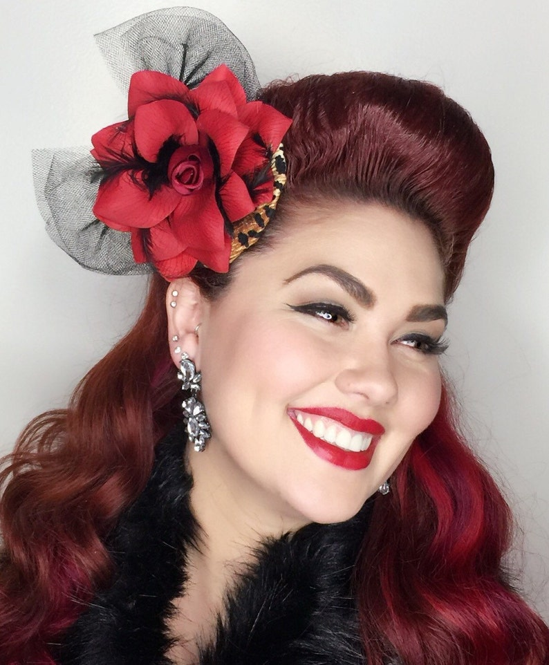 50s Hair Bandanna, Headband, Scarf, Flowers | 1950s Wigs Pinup Bettie- Leopard hair fasinator with a red rose black tulle bow and red feathers $35.00 AT vintagedancer.com