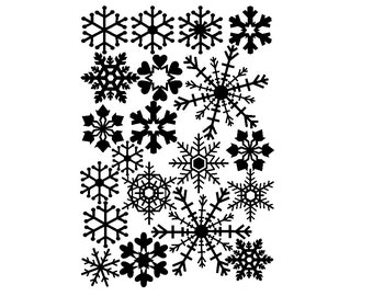 Snowflake Window Clings Set of 20 in White V1