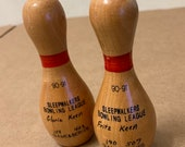 Wooden mini Bowling Pin Pair 1990 1991 wood bowler miniature league vintage trophy Sleepwalkers League Game Series Fritz Keen Gloria 4 quot tall