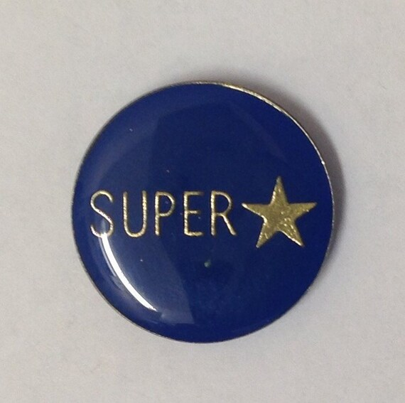 1980's SUPER STAR Office Humor PIN round fun conceited Gen X music band sports vintage hat lapel enamel retro metal from Vendor's board