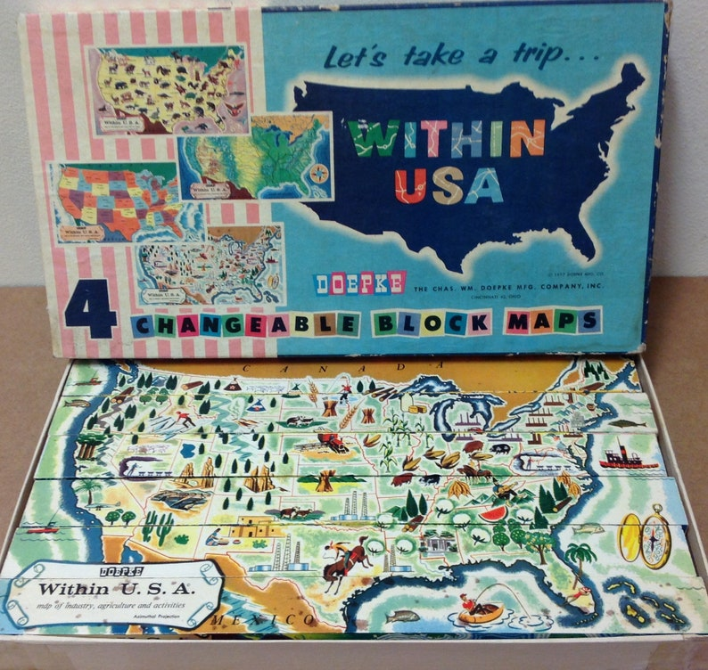 Doepke rare 1950s wood blocks changeable block Maps Let's Take a Trip  WIthin USA puzzle educational travel toy 1957 vintage retro geography