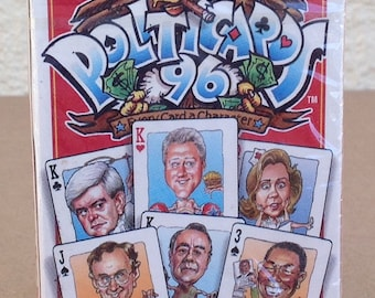 Clinton Politics POLITICARDS 1996 political satire caricatures Gore Dole Kemp President 54 different factory new sealed playing cards
