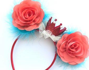 a8543d339f Moana Mickey Ears-Halloween-Minnie Ears-Mouse Ears- Birthday Party -  Headband - Crown - Orange Blue Red - Princess - Flower Crown