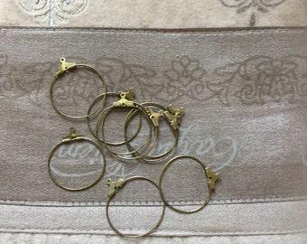 10 Pcs Antique Bronze Wine Glass Charm Rings/Earring Pendants 26mm