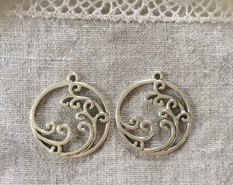 2Pcs. Antique Silver Filigree Charm Pendant/Connector