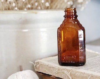 Antique Amber Glass Bottle Brown Glass Apothecary Pharmacy Fall Farmhouse Decor Industrial Decor Salvage REXELL