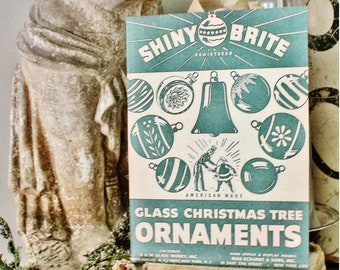 SHINY BRITE ORNAMENTS Wood Sign Green Farmhouse Christmas Decor Vintage Ornament Advertising Sign Wall Art Print