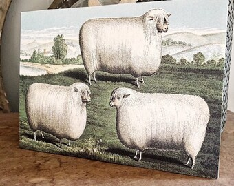 Vintage SHEEP HERD Sign Primitive Poster Wood Sign Mounted Print LARGE Farmhouse Decor Sign Page Wall Art