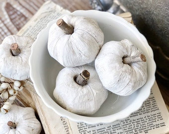 WHITE Mini Pumpkins SET OF 3 Wooden Painted Pumpkin Farmhouse Decor Fall Decor Bowl Filler Boos Fixer Upper Decor
